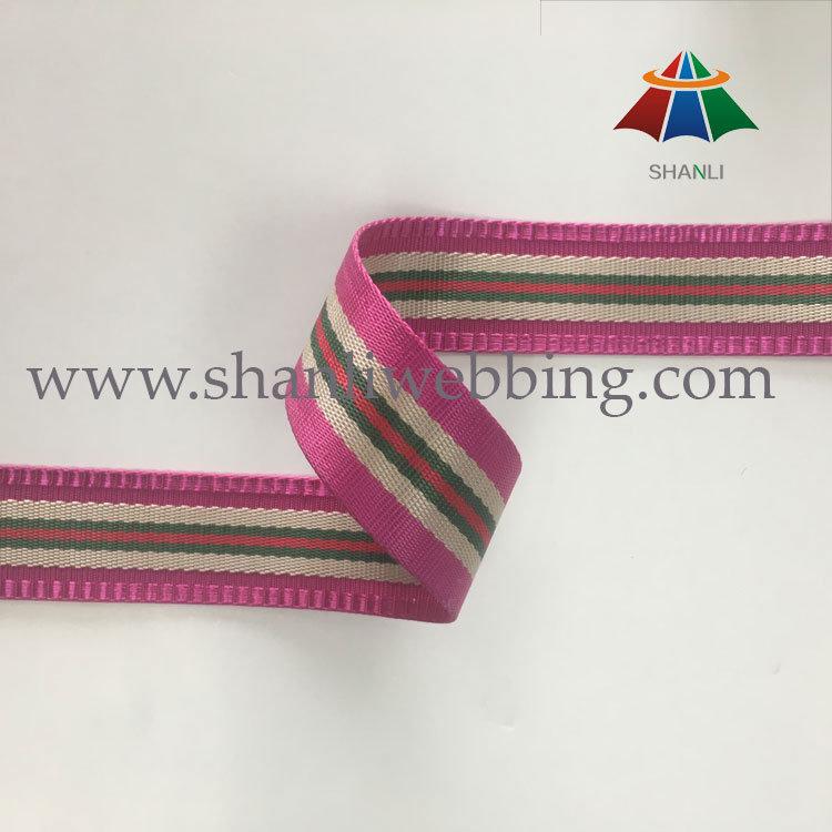 Best Selling 38mm Striped Polyester Nylon Jacquard Webbing