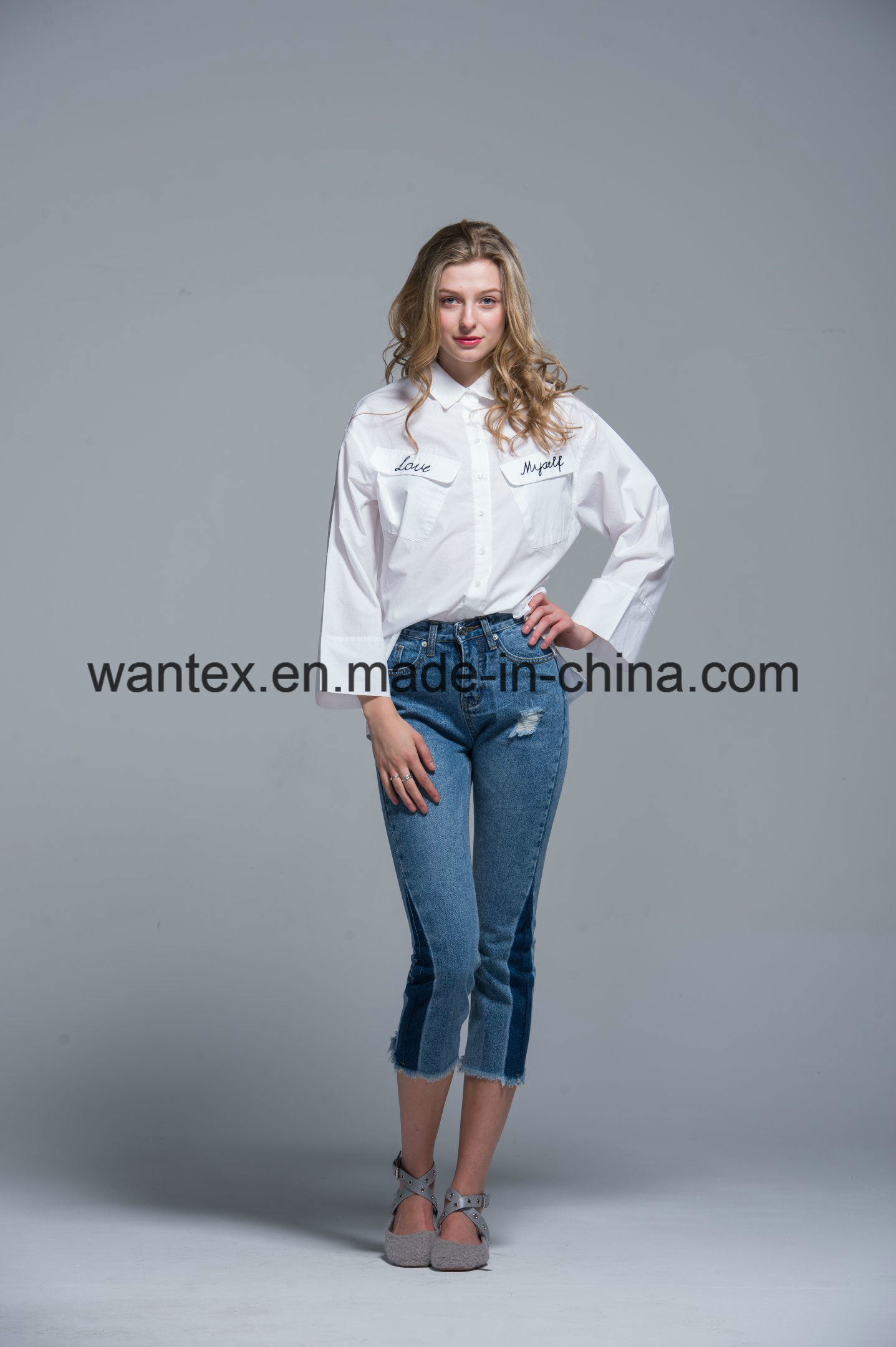Ladies Blouse 100% Cotton Fashion Shirt Fashion Top Spring Autumn