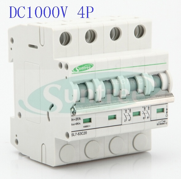 Solar DC Circuit Breaker DC1000V 4 Pole 6A-63A DC MCB