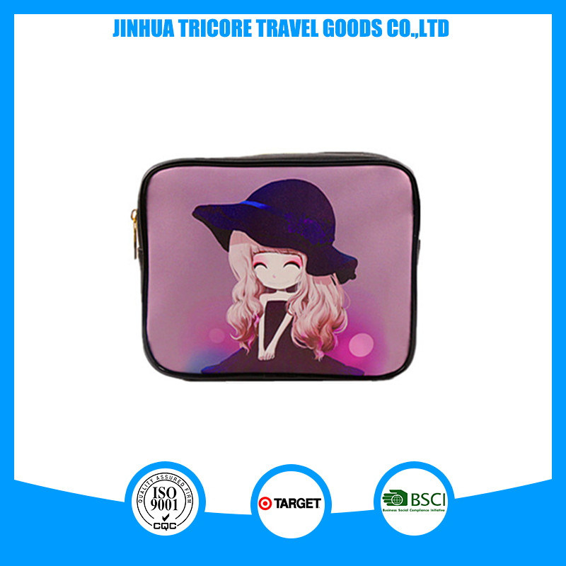 Custom Square Printed Zipper Cosmetic Bag