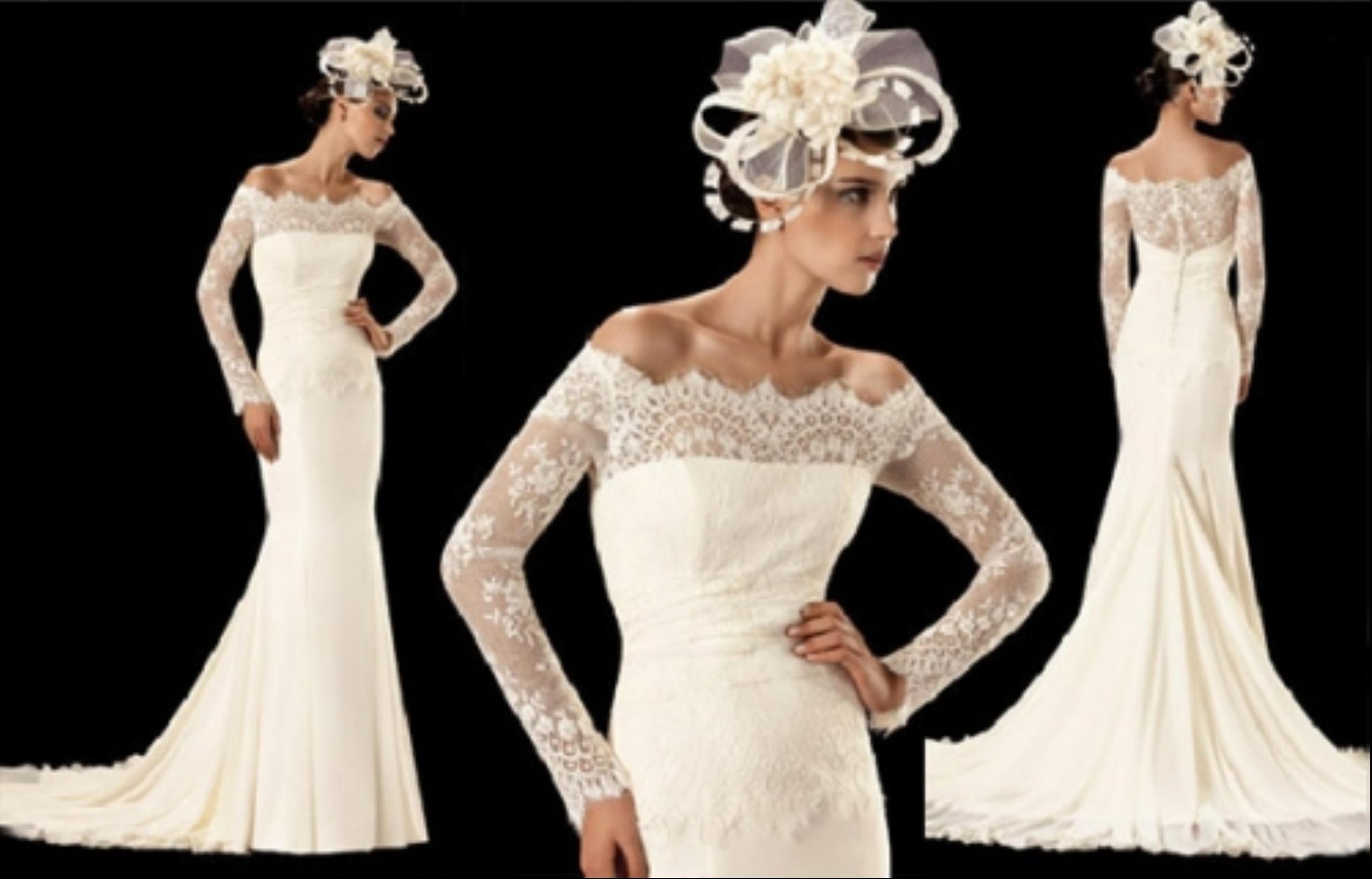 China long sleeve ivory full length mermaid wedding for Drop sleeve wedding dress