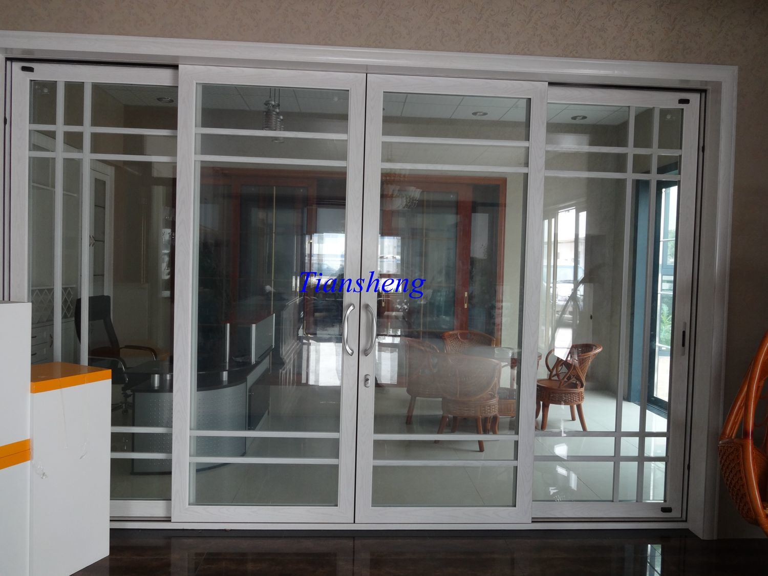 China built in blinds louver shutter double triple glazed for Built in sliding doors