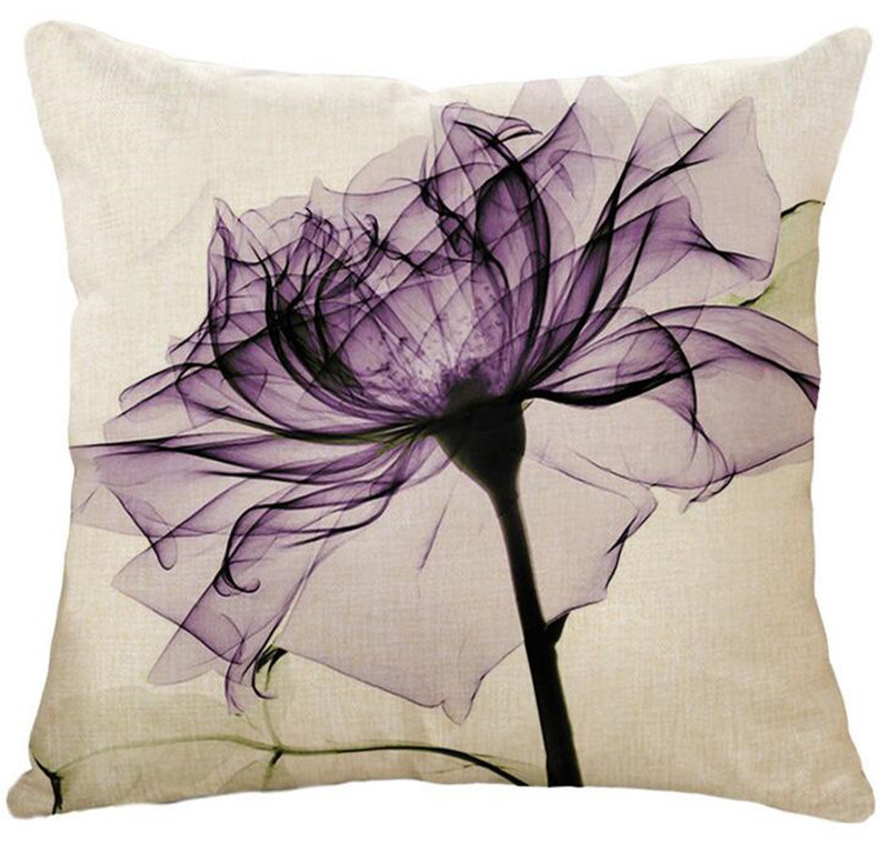 Cotton&Linen Natural Style Polyester Padding Cushion Oil Painting Flower Cushion