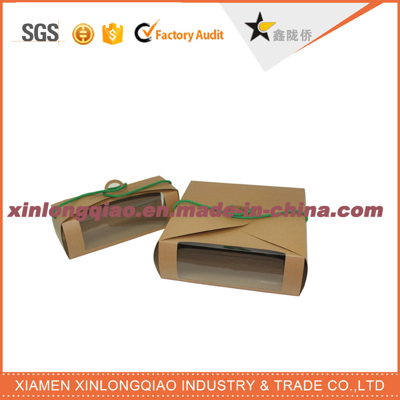 Custom Size Brown Kraft Paper Box with PVC Window