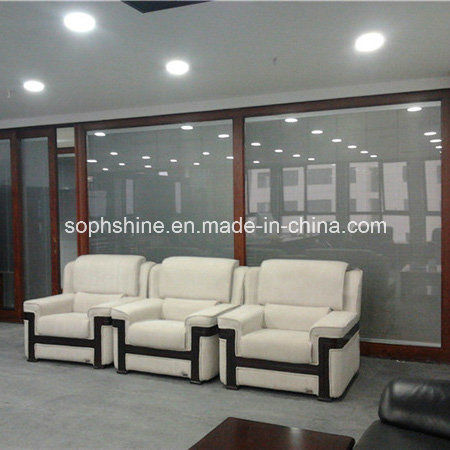 Motorized Aluminium Venetian Blinds in Insulated Tempered Glass for Office Partition