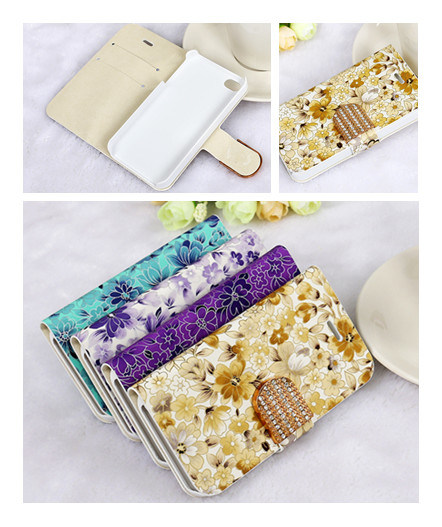 Painting Flip Wallet TPU Cellphone Case for iPhone 5s