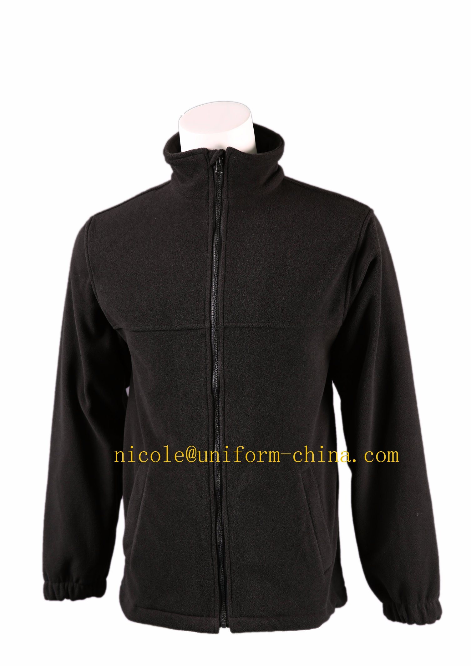 Custom Black Mens Work Outdoor Polar Fleece Jacket