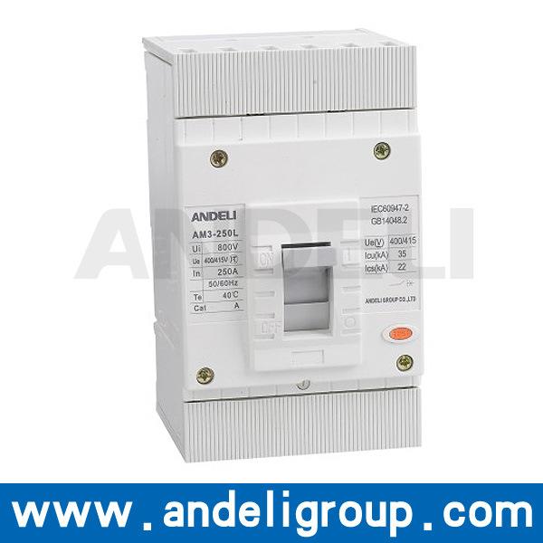 250A MCCB 3 Poles MCCB Moulded Case Circuit Breaker (AM3-250L)