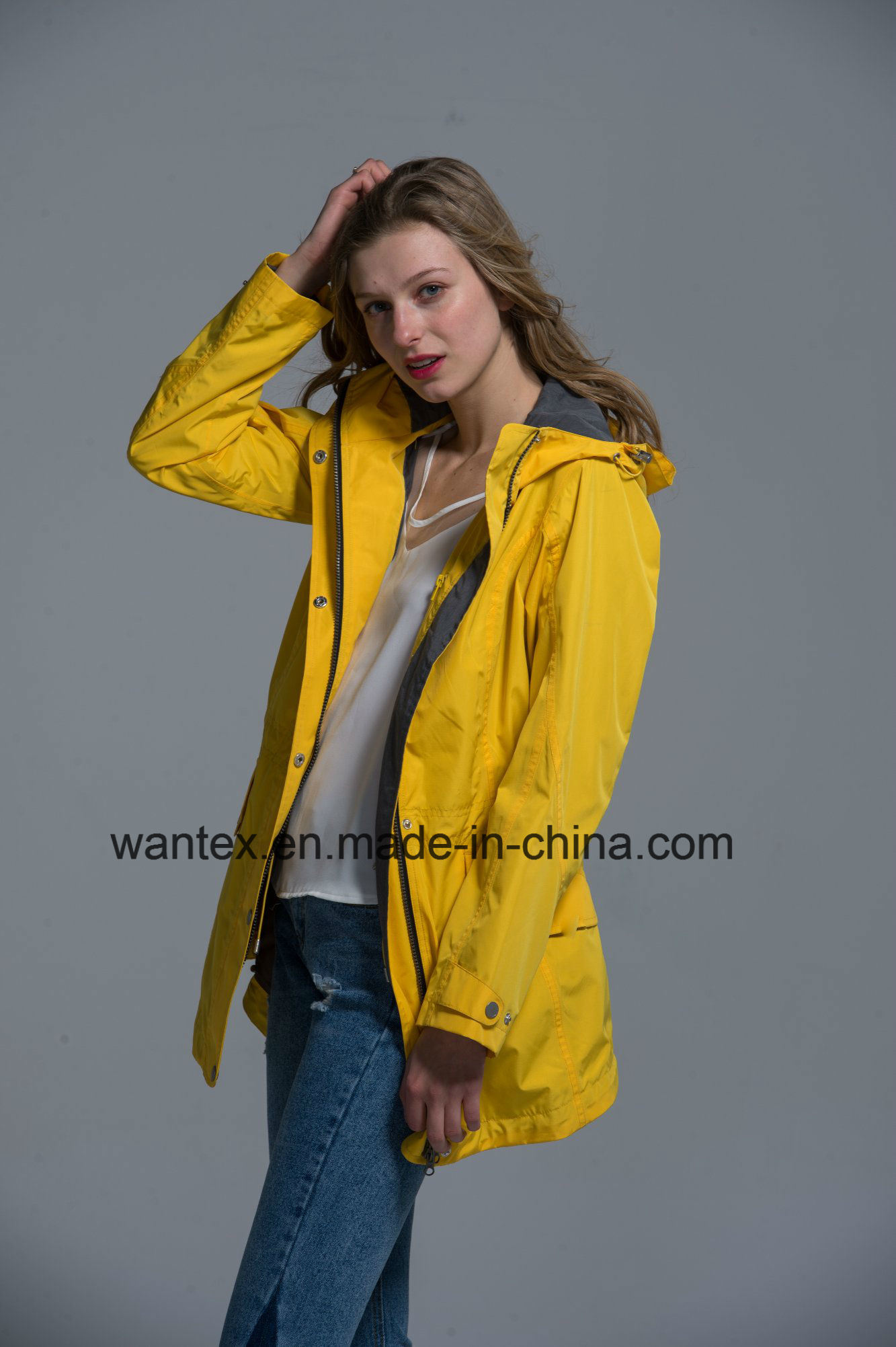 Ladies Loose Jacket Pizex Fashion 100% Cotton Spring Autumn Yellow Waterproof