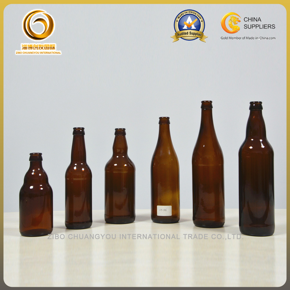 Customized 330ml Stubby Amber Beer Bottle with Crown Top (502)