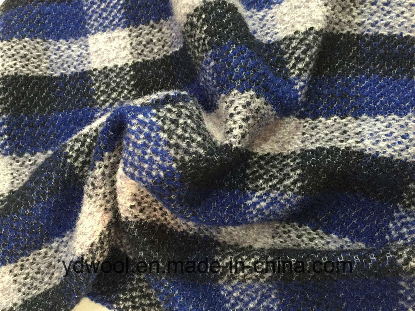 Stock Check Wool Fabric Blue & Black Woollen Cloth