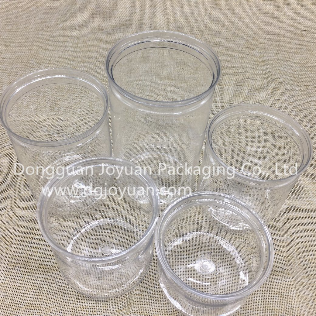 Clear Plastic Pet Can with Aluminum Eoe and Plastic Cover