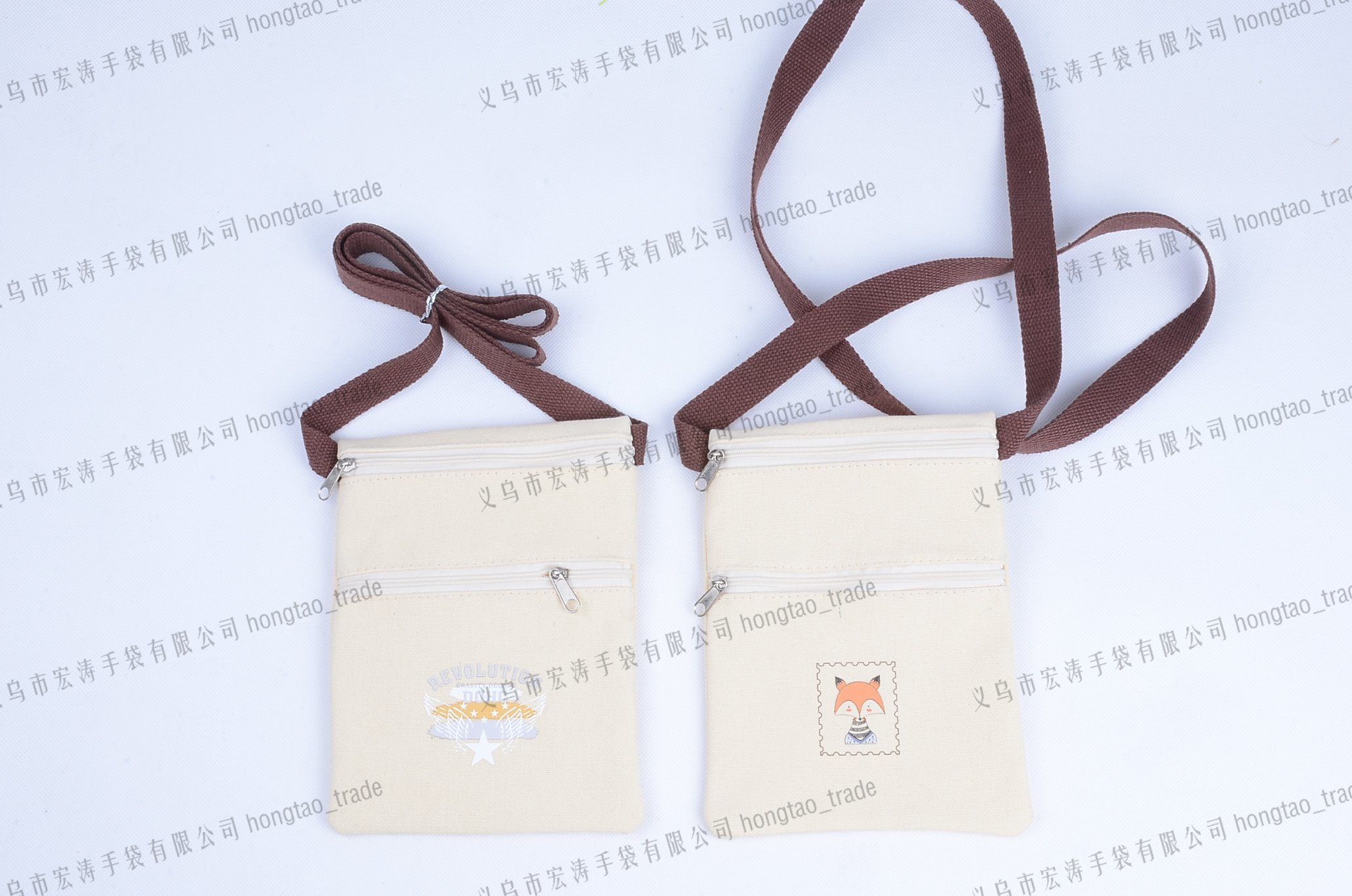 Thermal Transfer Printing Double Zipper Cotton Hanging Bags Breast Pocket