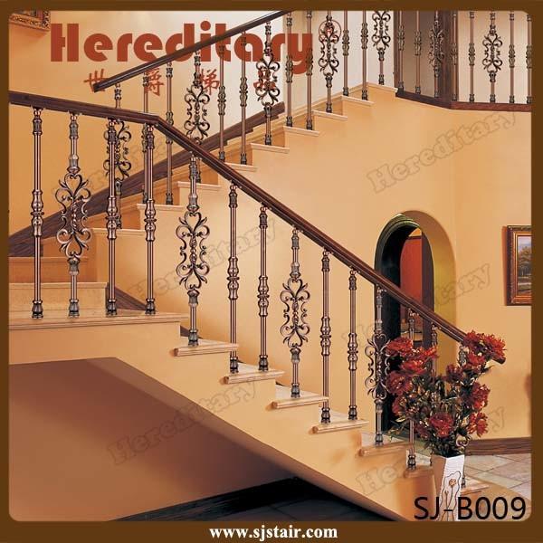Rose Color Villa Interior Cast Aluminum Stair Handrail (SJ-B028)