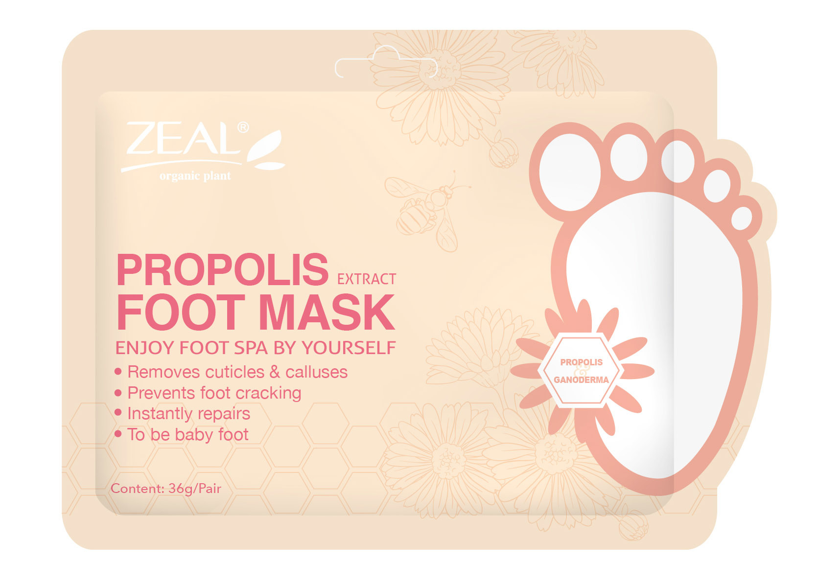 Zeal Propolis & Pearl Whitening & Brighten Foot Mask Cosmetic