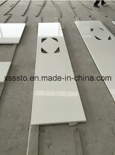 Precut Pure White Quartz Stone Bench Tops for Kitchen Decoration
