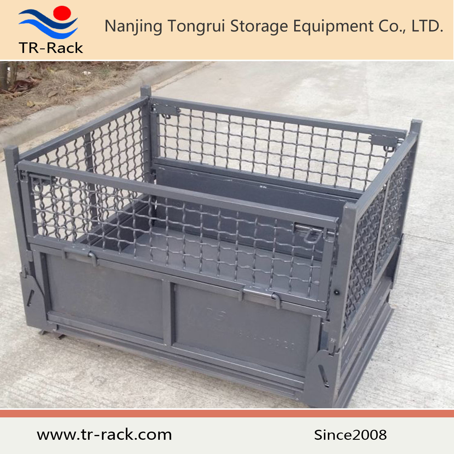 Heavy Duty Steel Foldable Mesh Cage for Warehouse Storage