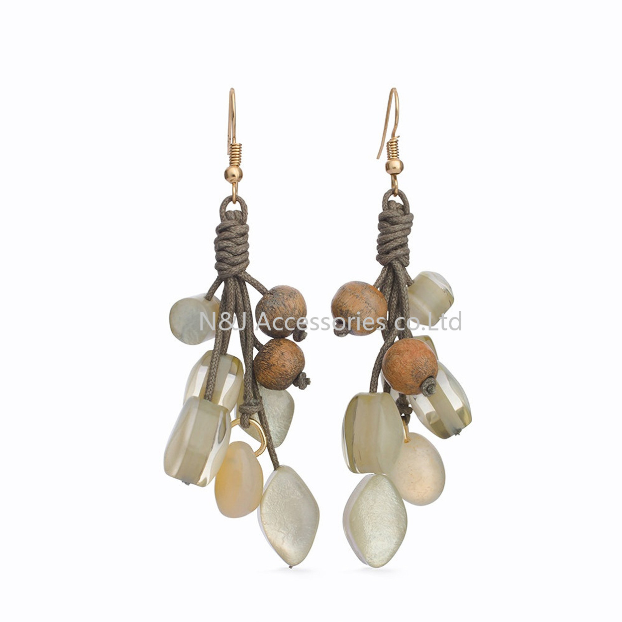 2017 Fashion Handmade Wooden & Acryl Beads Long Drop Earrings for Women Jewelry