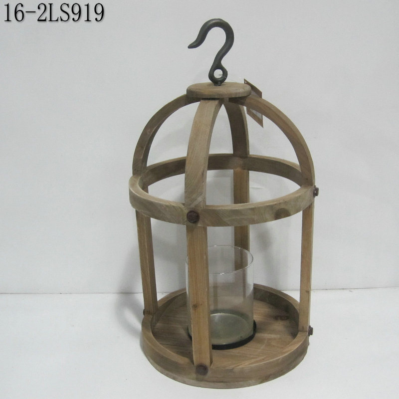 Shabby Vintage with Wooden or Flax Handle of Wooden Lanterns