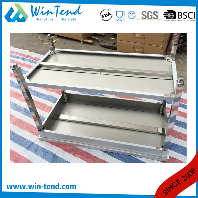 Square Tube Stainless Steel Shelf Reinforced Robust Construction Solid Backsplash Working Table with Adjustable Leg
