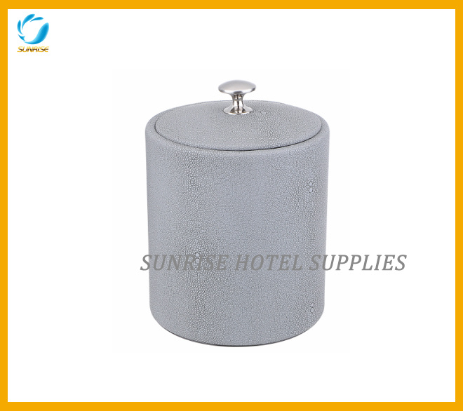 Guestroom Leatherette Grey Ice Bucket