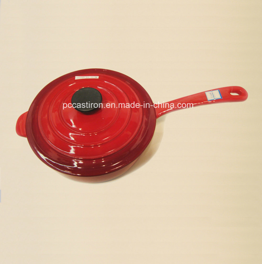Enamel Cast Iron Double Use Milk Pot with Lid as Frypan