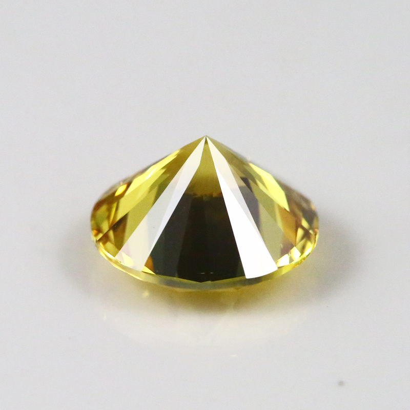 10 Heart 10 Arrow Cutting Round Yellow Cubic Zircon Gemstone