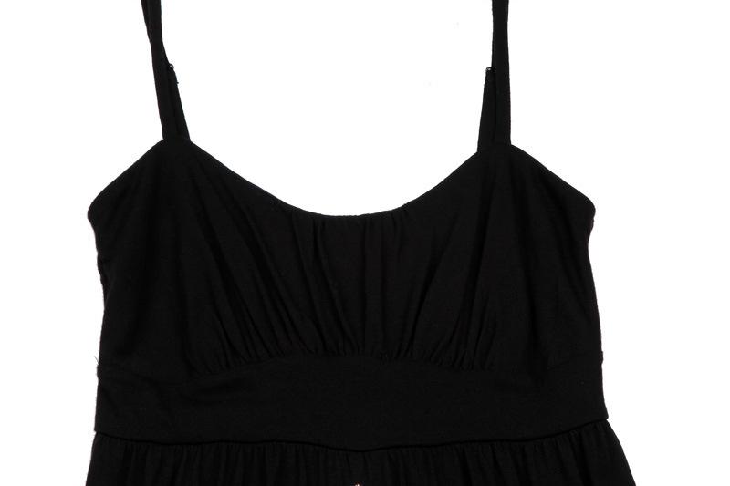 Black Dress Women′s Summer Embroider Braces Skirt