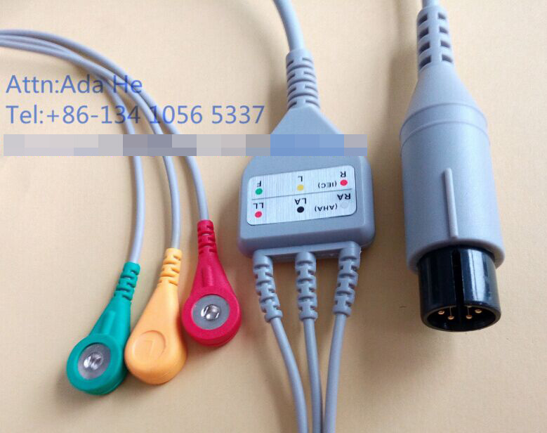 Medical Monitor 6pin IEC Snap 3 Leadwire ECG Cable