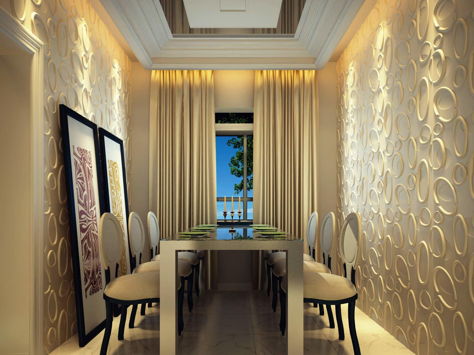China Modern 3D Board Panel For Dining Room Wall Decoration Photos