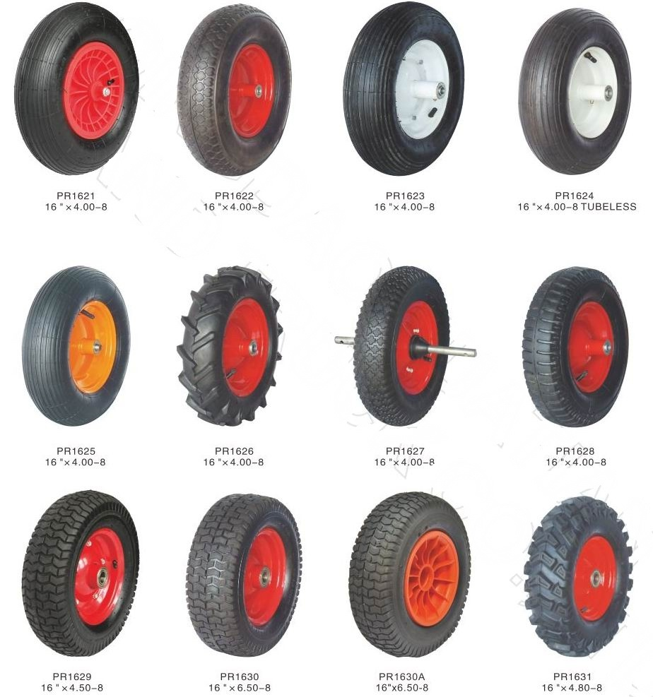 Cheap Price and High Quality Rubber Wheel with Steel or Plastic Rim, Air or Flat Free Available