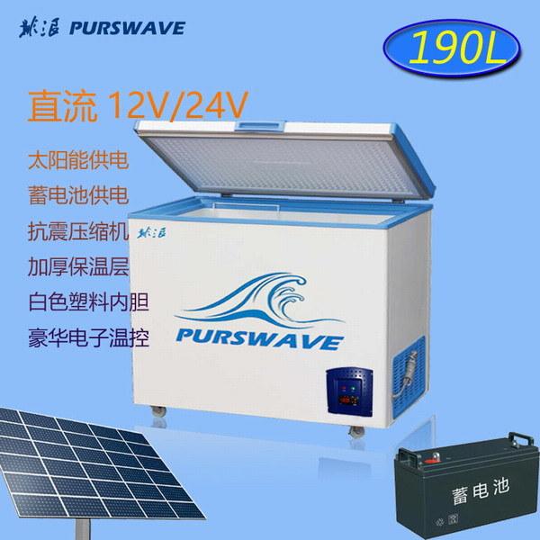 Purswave Vdfr-190e 190L DC 12V/24V/48V Solar Chest Freezer -25 Degree with Electronic Temperature Control Battery Powered Refrigerator Movable Ice-Cream Freezer