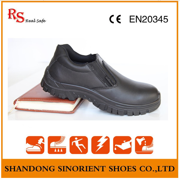 Black Kitchen Safety Shoes No Lace ESD Work Shoes RS6009