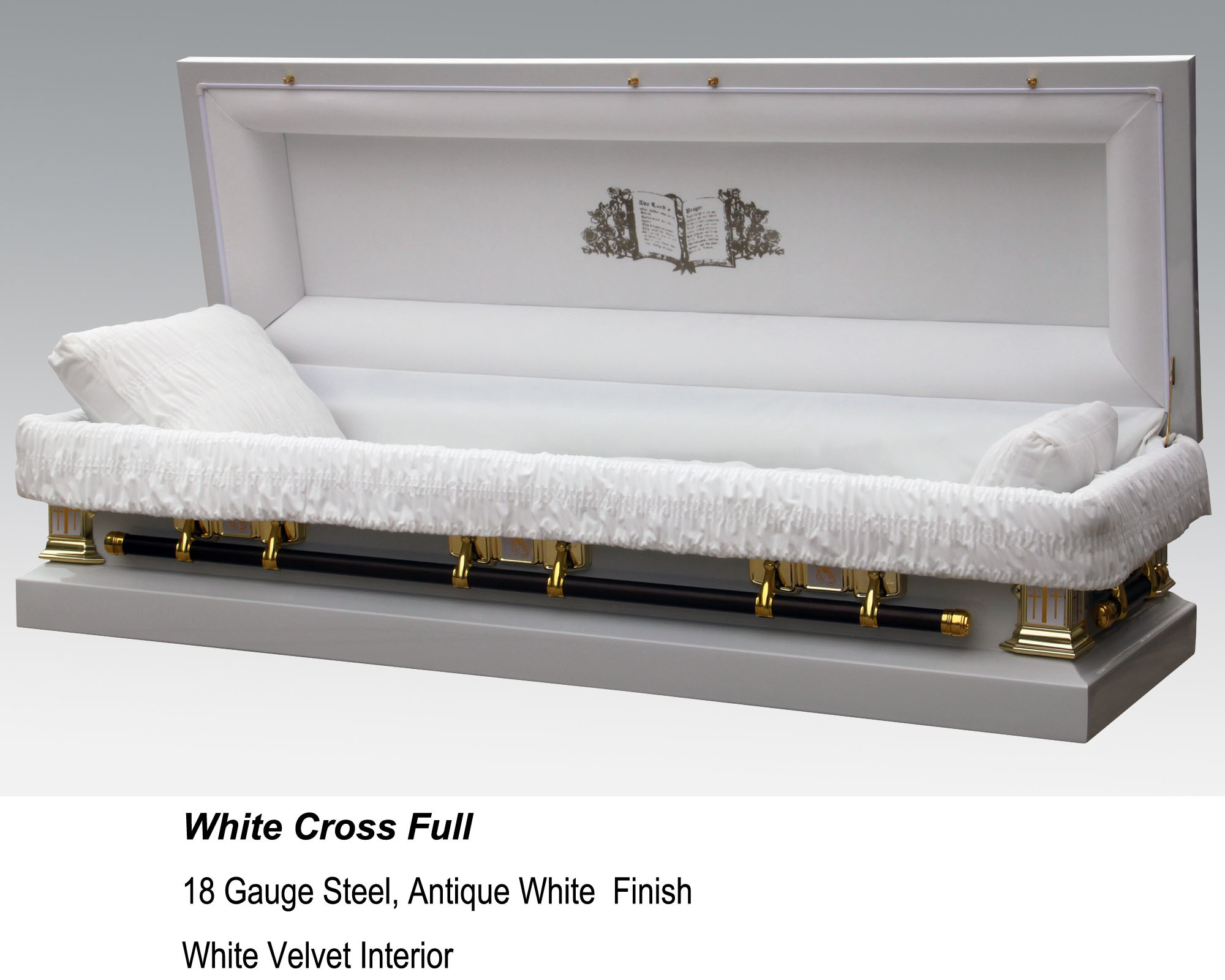 China White Cross Full Couch Casket Photos Pictures