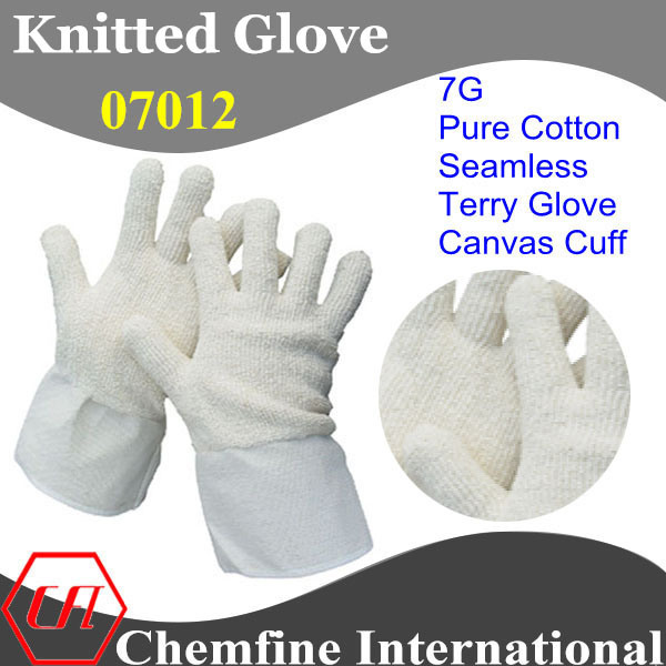 7g White Pure Cotton Terry Knitted Glove with Canvas Cuff