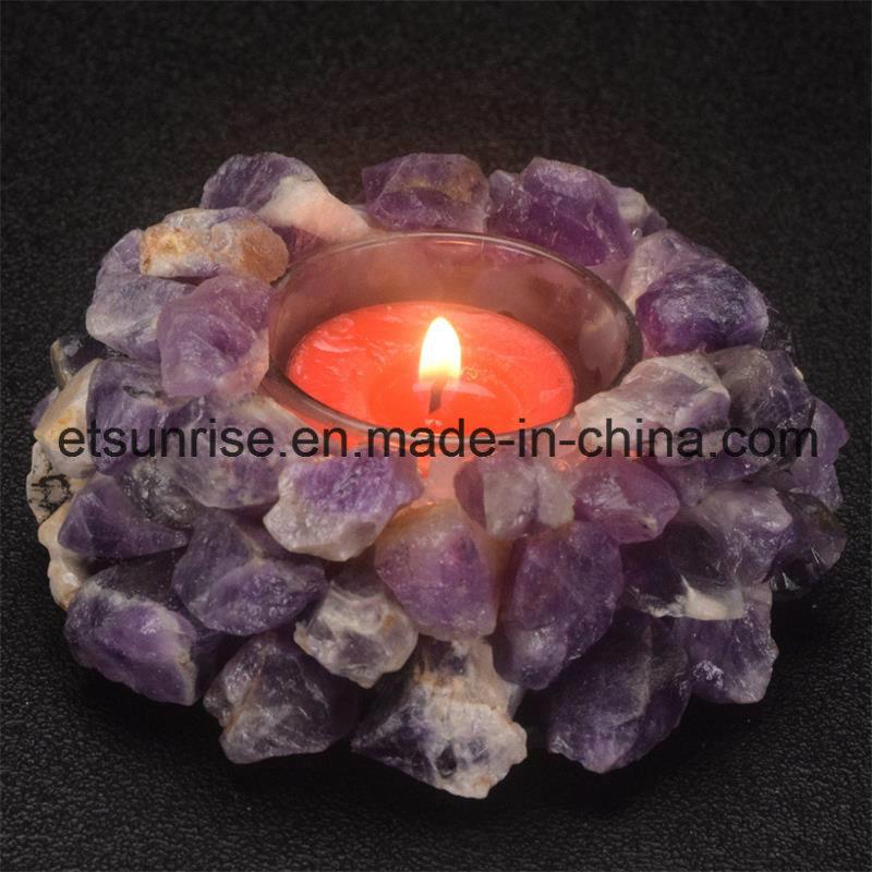 Semi Precious Stone Amethyst Crystal Candle Holder