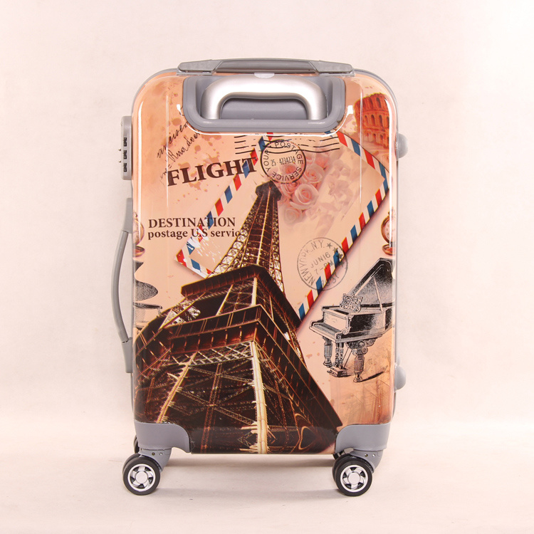 Luggage 2016 Eiffel Tower Suitcase, Customized Printing Trolley Luggage Bag