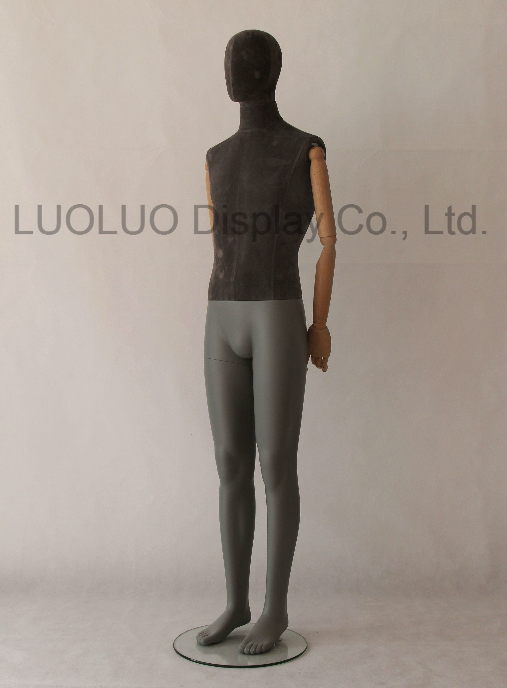 New Linen Wrapped Male Mannequin with Wooden Arms
