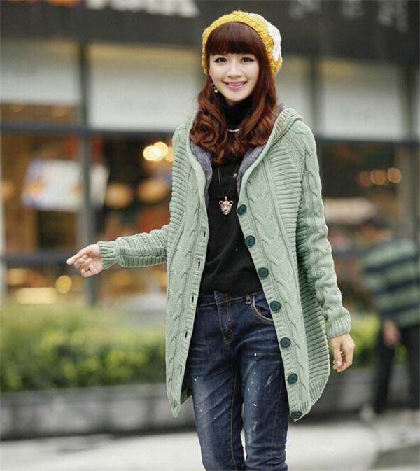 China Winter Warmer Women Long Red Cardigan Knit Sweater Coat ...