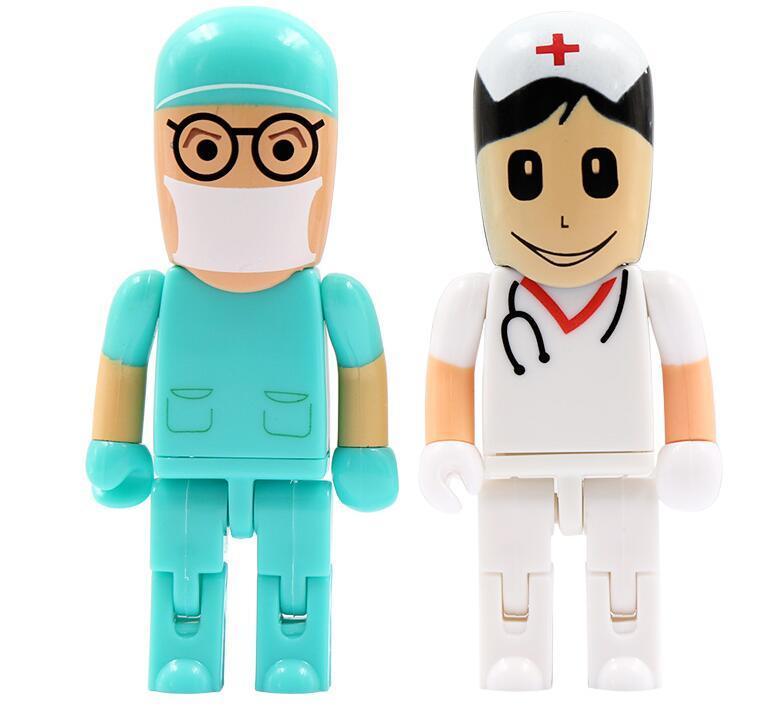 Moveable Doctor Nurse Flash Disk 8GB 16GB USB 2.0 Pendrive Pen Drive