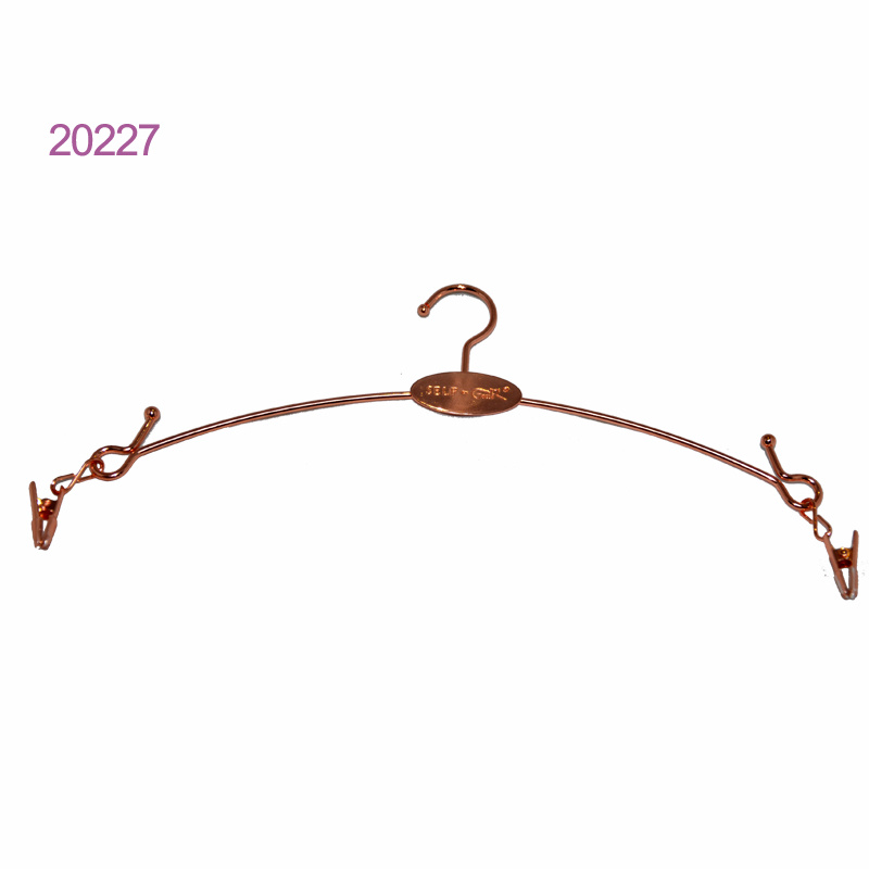 Luxury Custom No Slip Gold Metal Lingerie Underwear Hanger with Clips