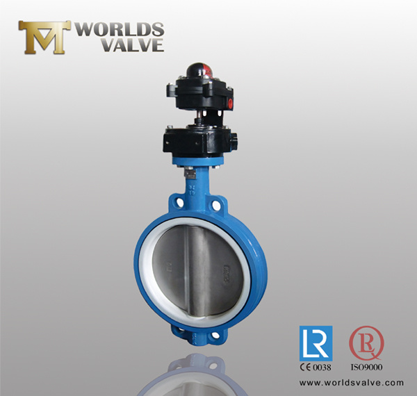 NBR Seat Gear Stainless Steel Disc Wafer Butterfly Valve