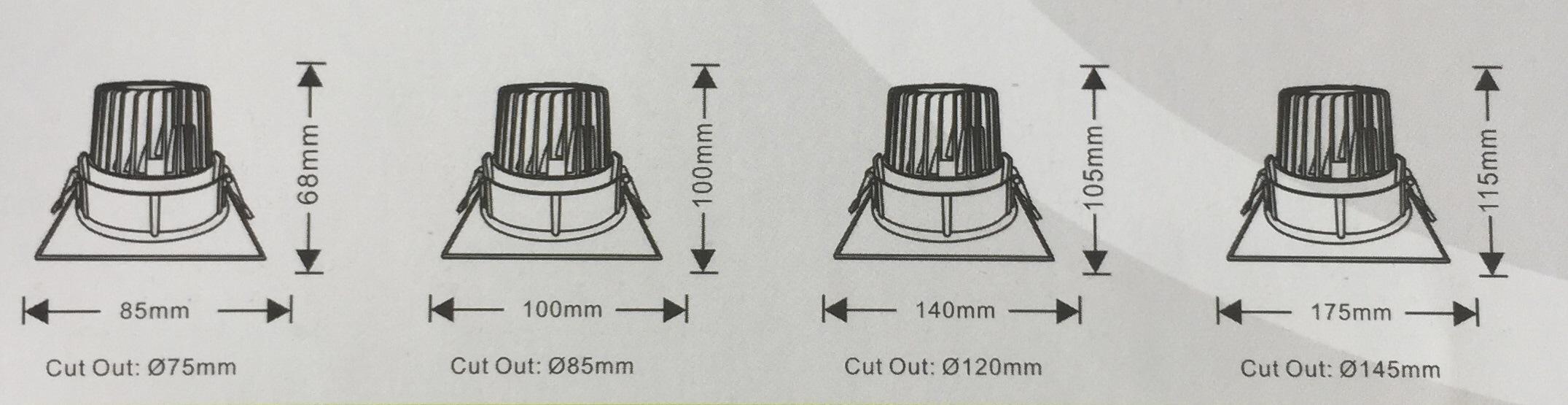 Die Cast Aluminum 16 Round Tilt Recessed LED Downlight COB