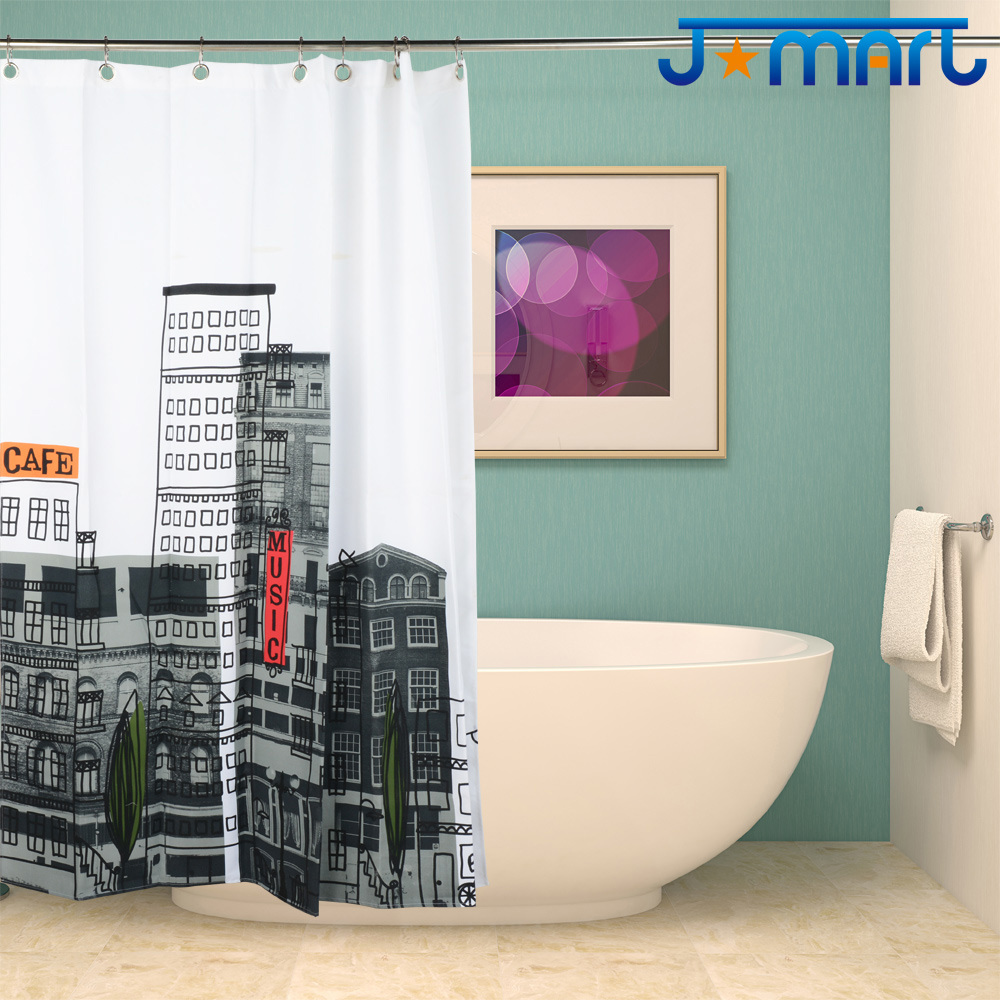 Cafe Mansion Eco-Friendly Water Resistent Polyduck High-Density Polyester Fabric Shower Curtain