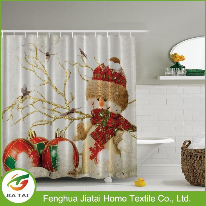 Custom Western Polyester Decorative Beautiful Snowman Shower Curtain for Kids