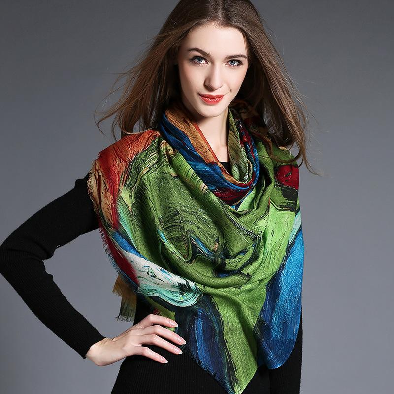 Women′s Abstract Digital Printing of Wool Scarf Hijab