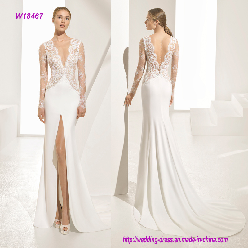 a Beautiful Generous Chantilly Deep V Neckline and High Open Slit Long Sleeve Bridal Gown with Sensual Gems