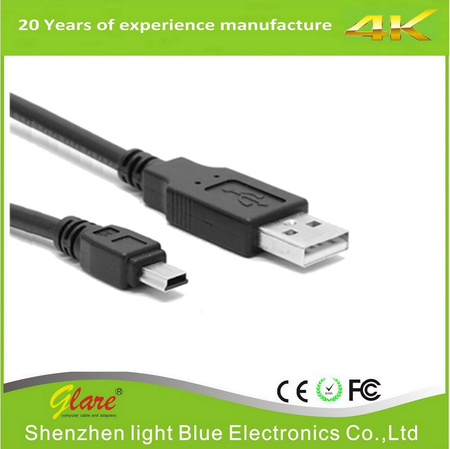 Black PVC Digital Camera USB Cable