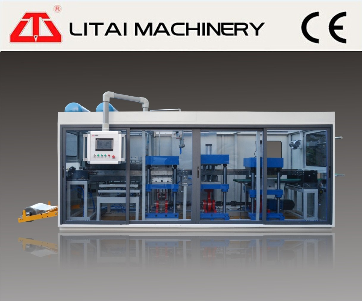 Full Automatic Plastic Cup Lid Making Machine for PP, Pet, PS, PVC Material