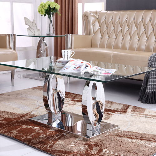 12mm Tempered Glass Coffee Table with Stainless Steel Base